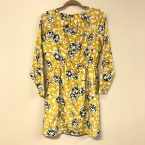 J Crew Yellow Print Dress Size 6